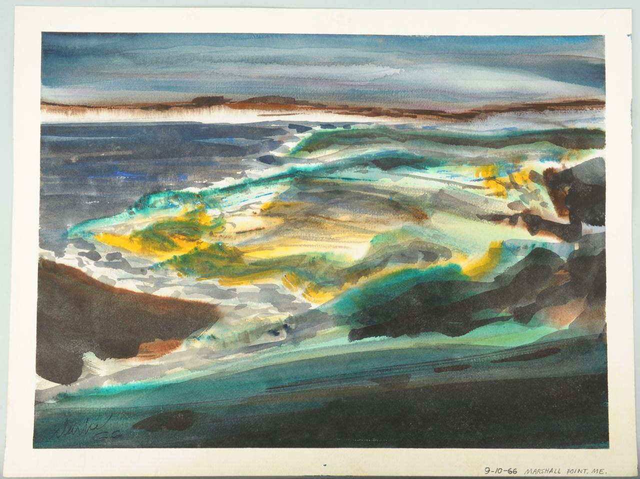 Lot 518: Richard Clarke watercolor, Marshall Point, ME