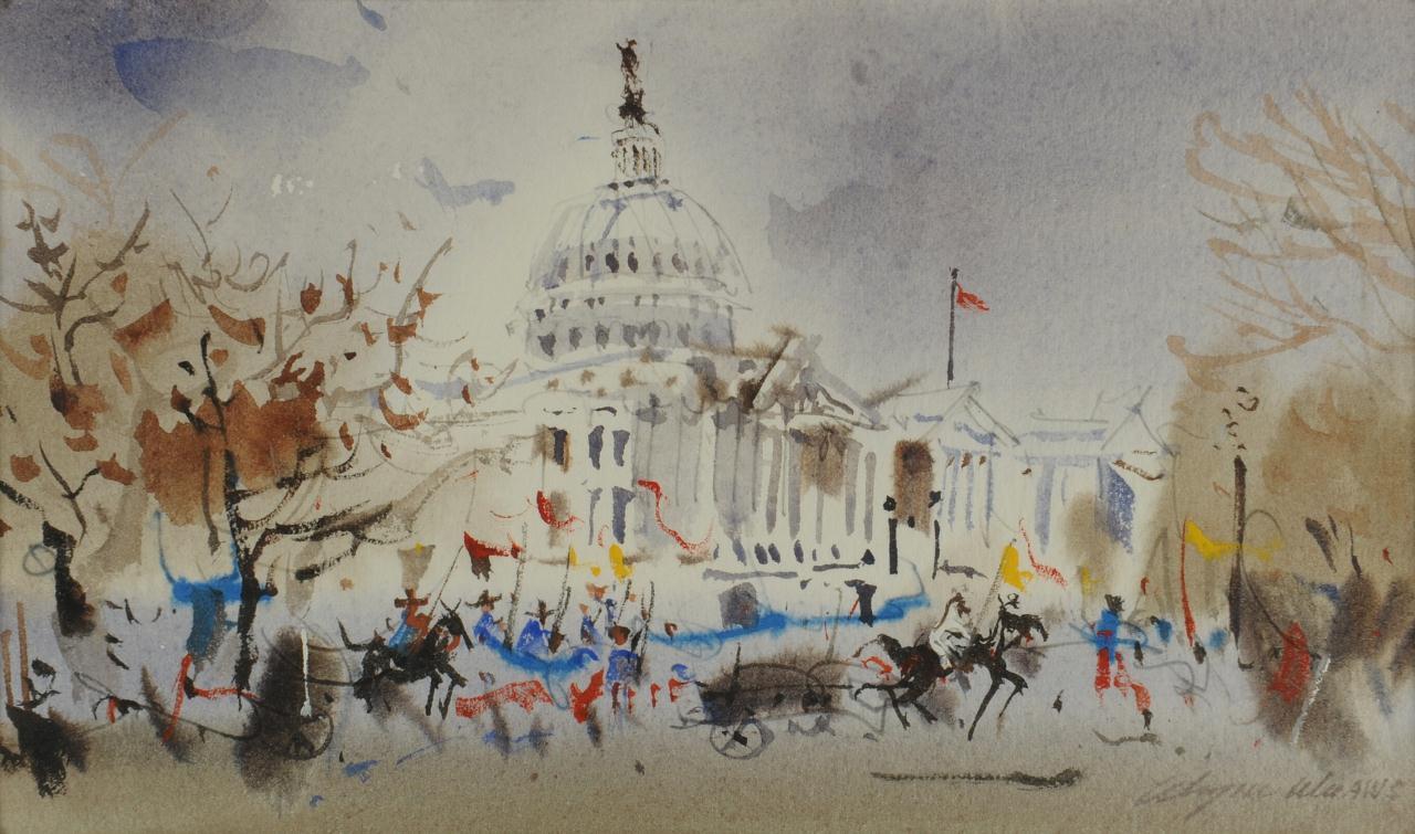 Lot 525: Wayne Wu watercolor, Washington DC parade