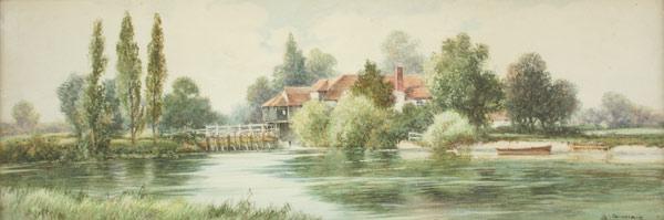 Lot 527: English Landscape Watercolor, S. Sinclair