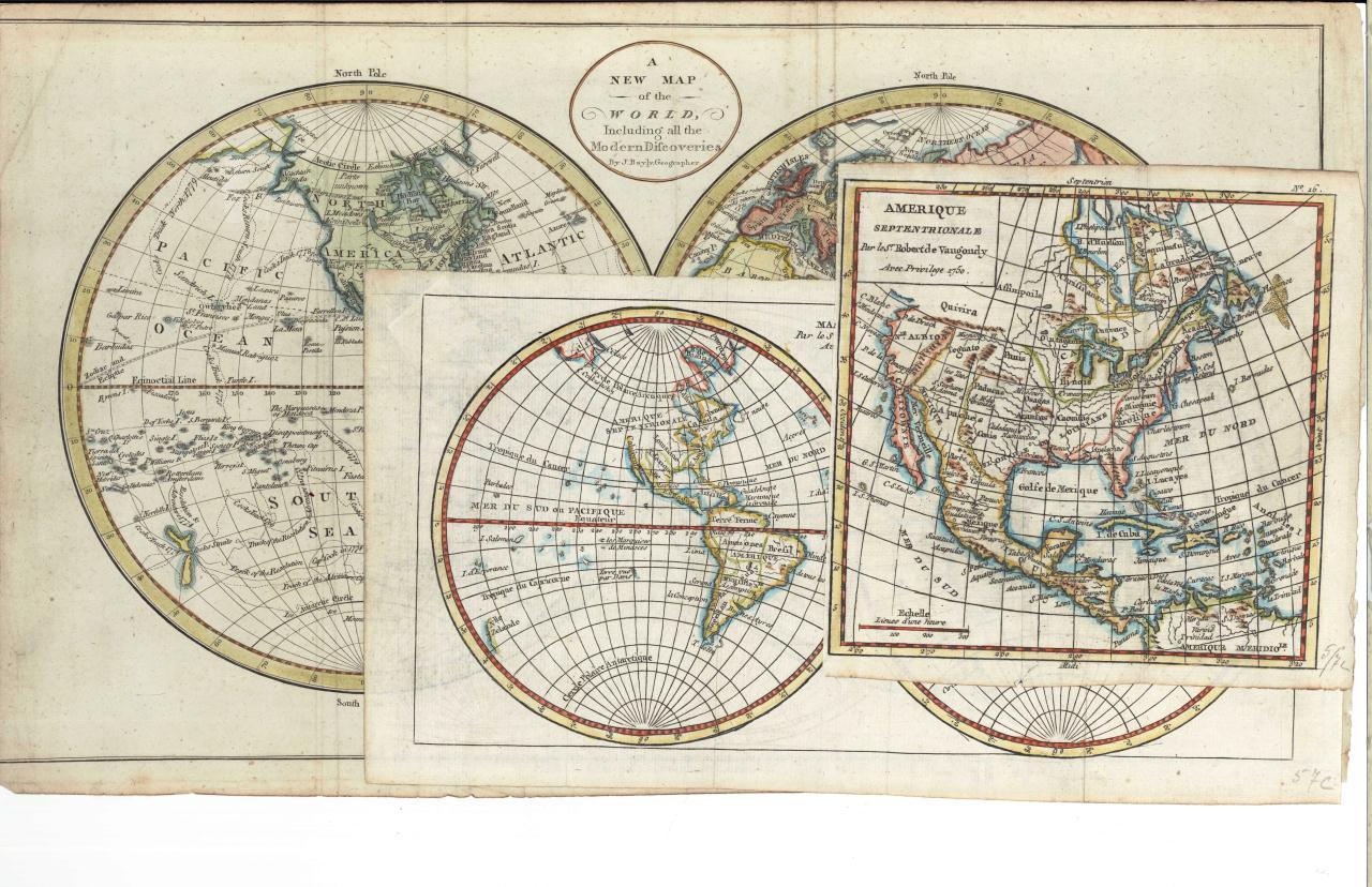 Lot 52: Three 18th C. maps incl. R. Vaugondy and J. Bayly