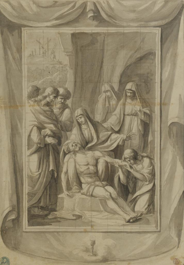 Lot 535: 2 Pen & Ink Drawings, Religious Subjects