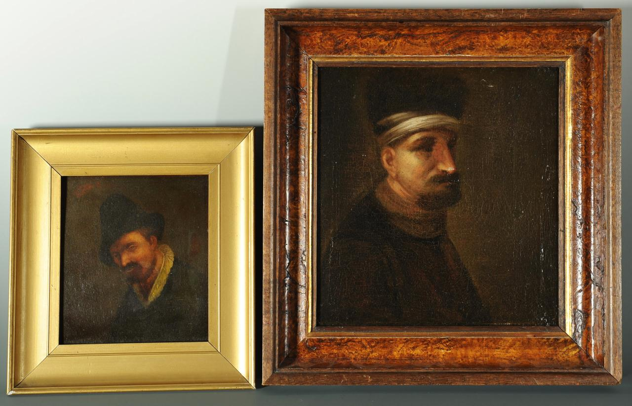 Lot 543: Two 17th c. style Portraits of Dutch Gentlemen