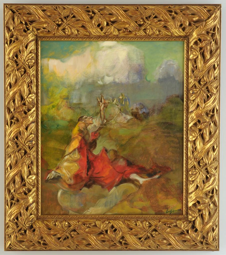 Lot 544: Philippe Lejeune oil on canvas, Isaiah 35:6-7
