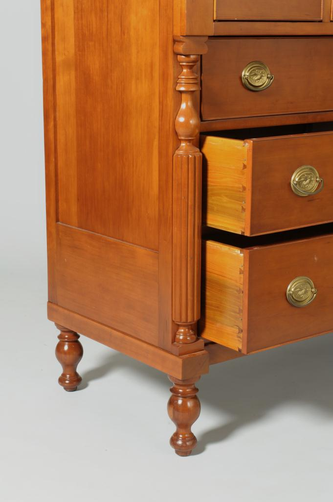 Lot 545: Signed Indiana River Trade Cherry Bonnet Chest