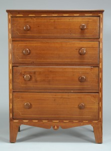 Lot 547: Diminutive Southern Inlaid Chest of Drawers