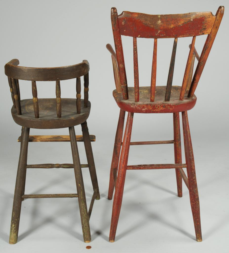 Lot 548: Two 19th Century Paint Decorated Child's Chairs