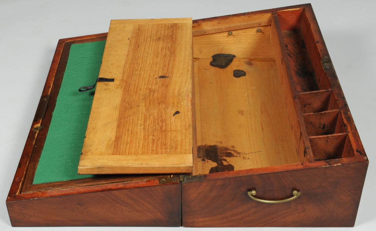 Lot 551: English Portable Writing Desk on Later Stand