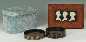 Lot 552: 19th C. Silhouette, Wine Coasters, Hat Box