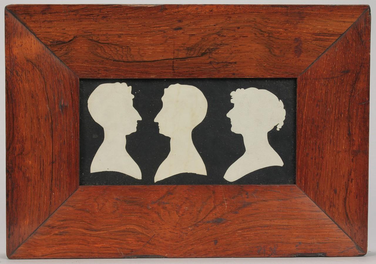 Lot 552: 19th C. Silhouette, Wine Coasters, Hat Box