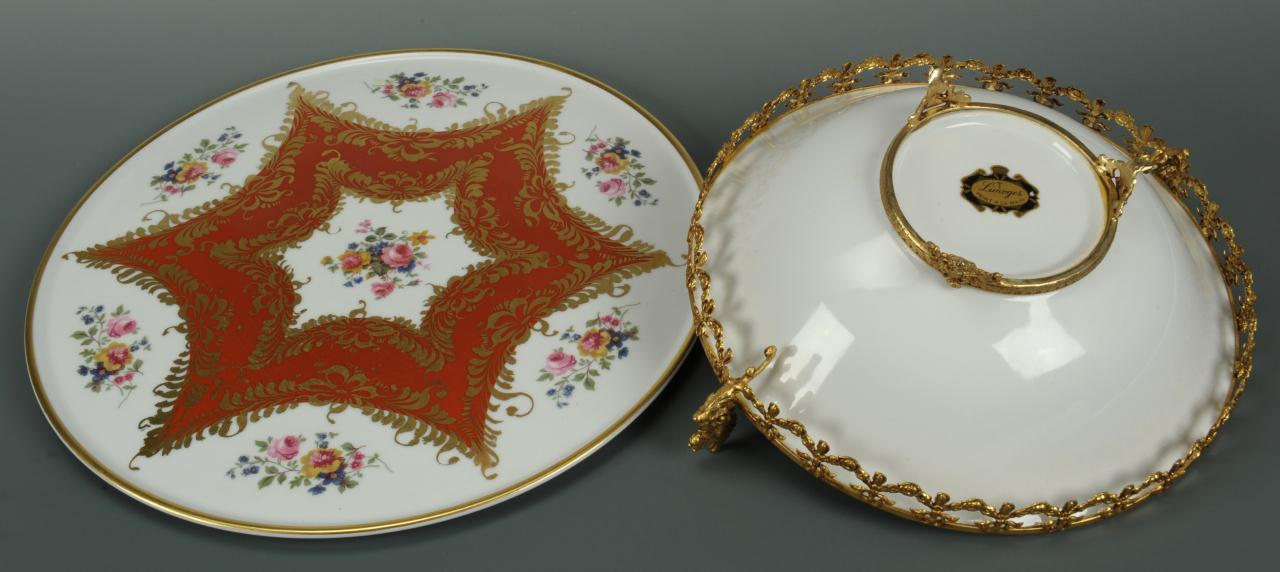 Lot 554: Group of 4 French Opaline Glass & Porcelain Items