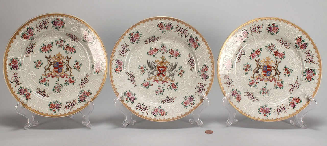 Lot 562: 3 Sampson Porcelain Armorial Plates