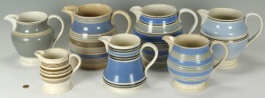 Lot 563: Grouping of 7 Mocha Ware Pitchers