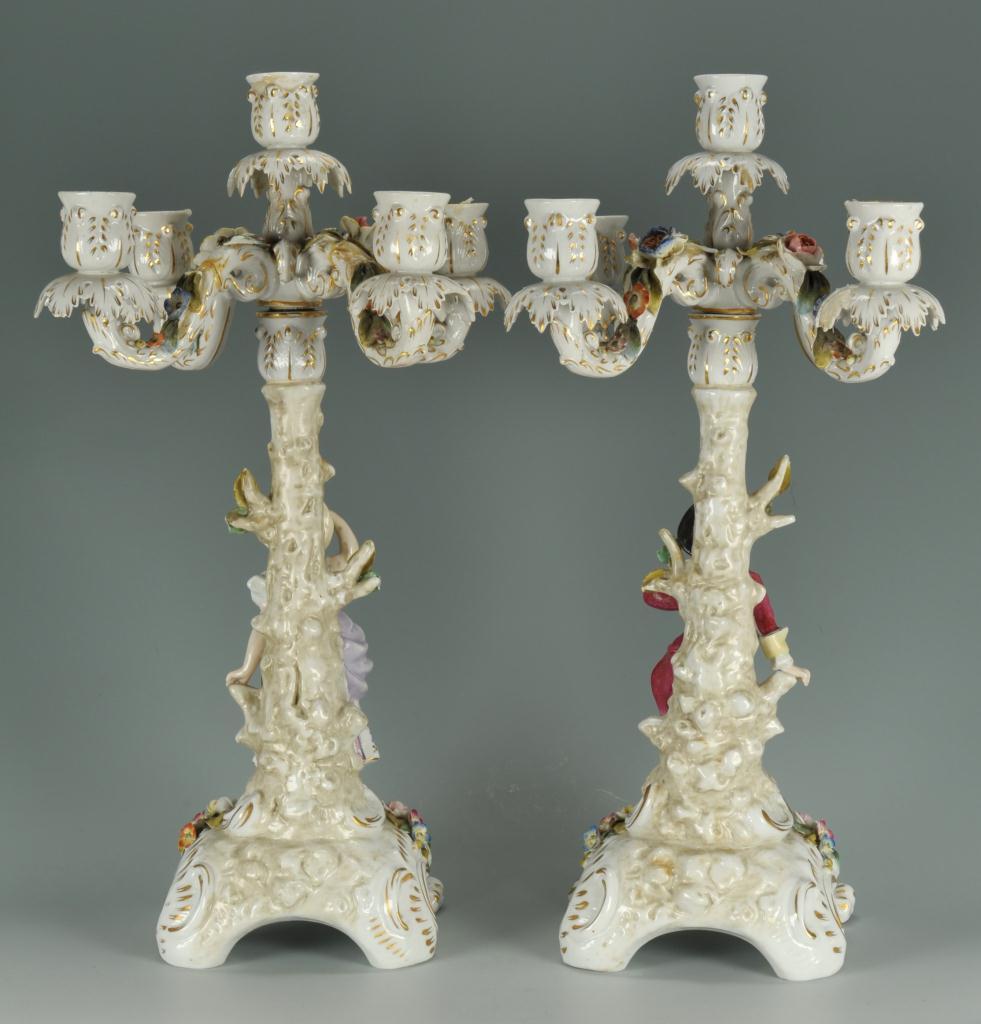 Lot 567: Pair of Meissen style candelabra