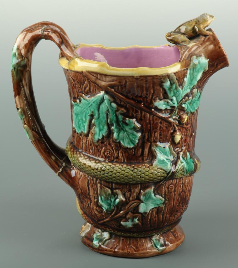 Lot 570: Majolica frog pitcher and two platters