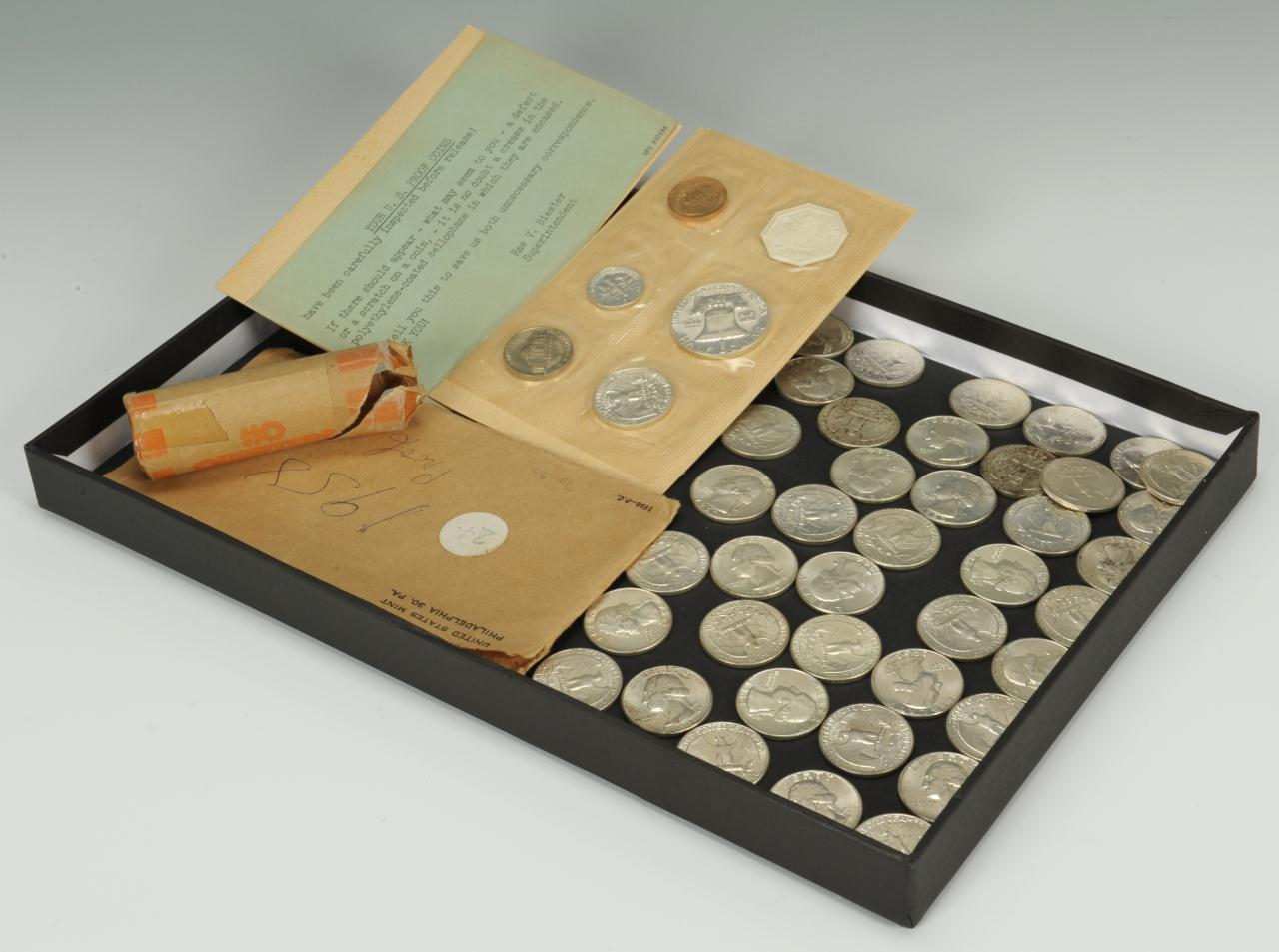 Lot 571: Roll of 1963-64 Silver Quarters & 1953 Proof Set