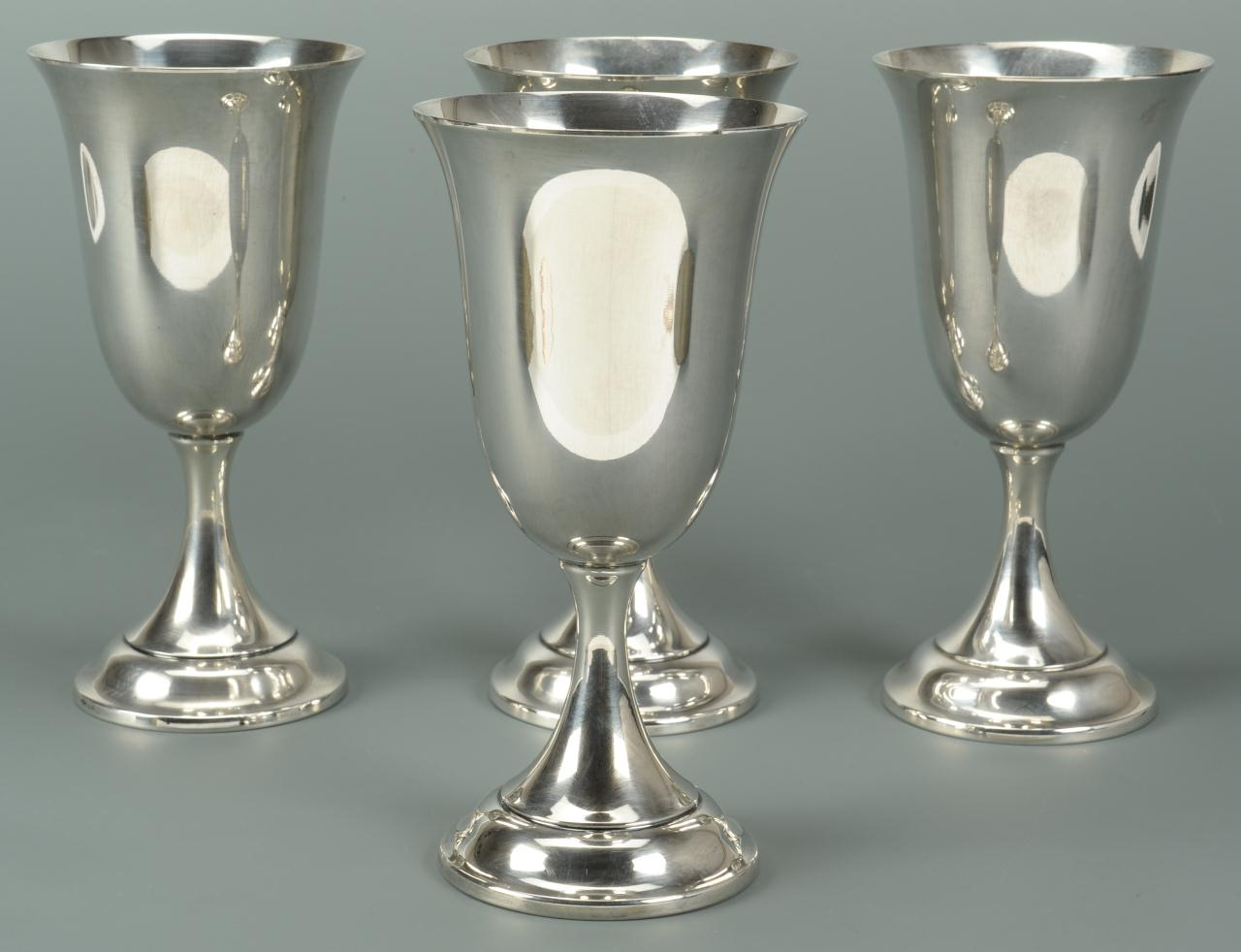 Lot 573: Set of 4 Sterling Water Goblets