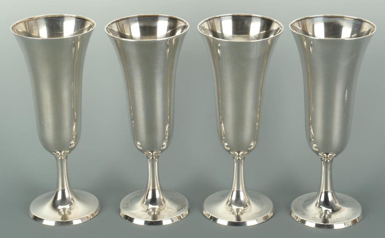 Lot 574: Set of 4 Gorham Sterling Champagne Flutes