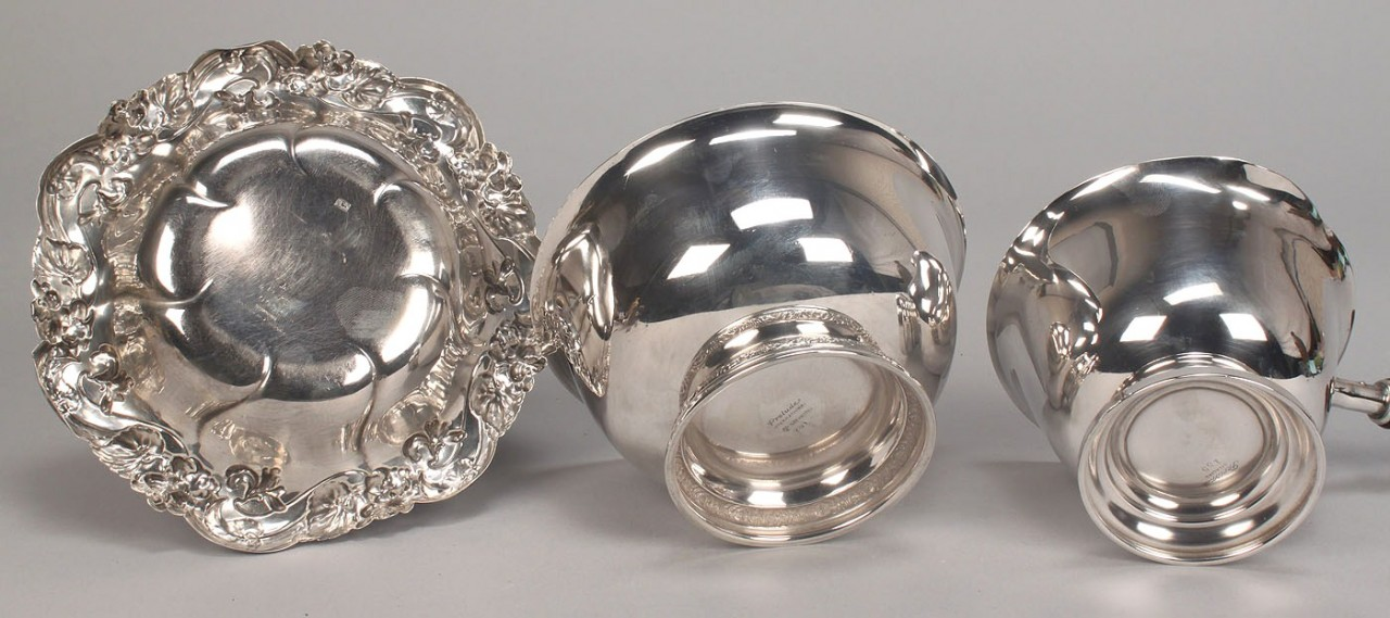 Lot 575: Sterling sauce pan and 2 bowls