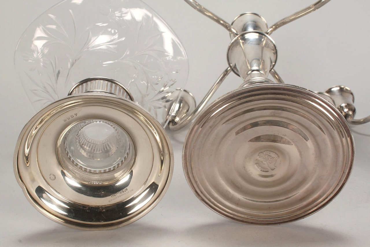 Lot 579: 3 Silver Table Items, Candelabra and Vase