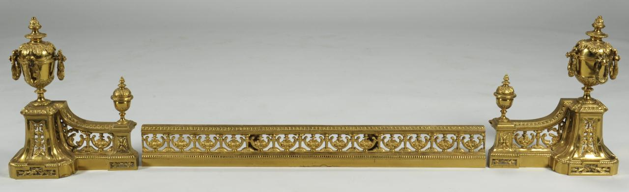Lot 588: Gilded Fireplace Chenets & Fender