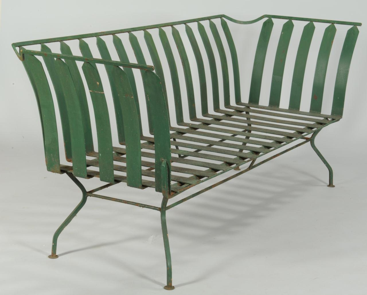 Lot 589 French Art Deco Patio Furniture Settee 3 Chairs