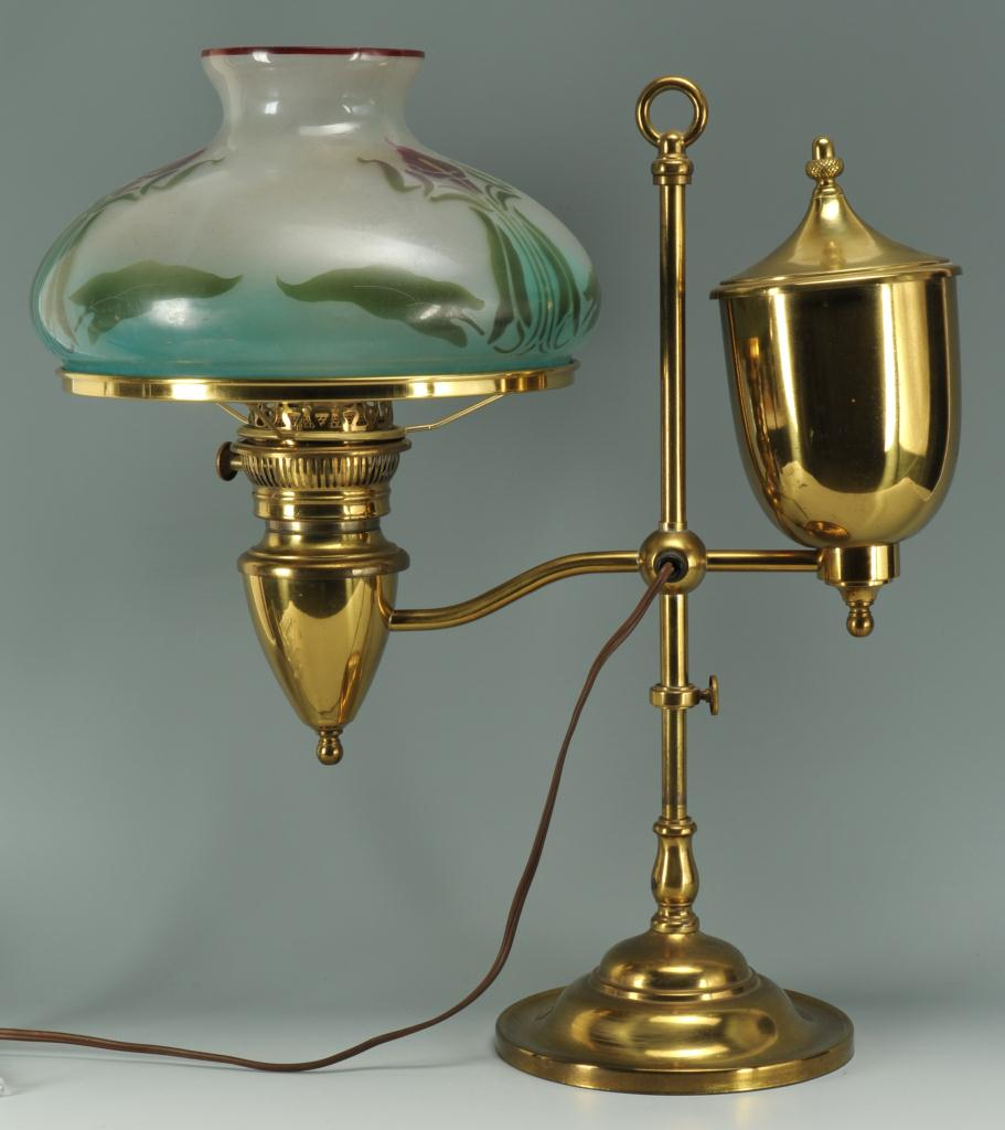 Lot 590: Bradley & Hubbard Student Lamp w/ Floral Shade