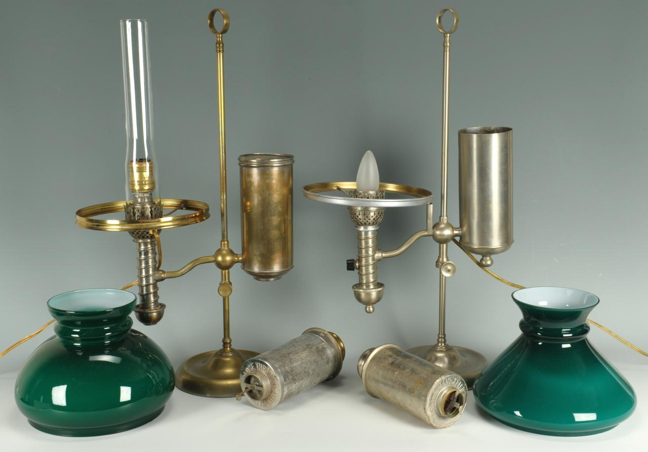 Lot 593: 2 Manhattan Brass Company Student Lamp