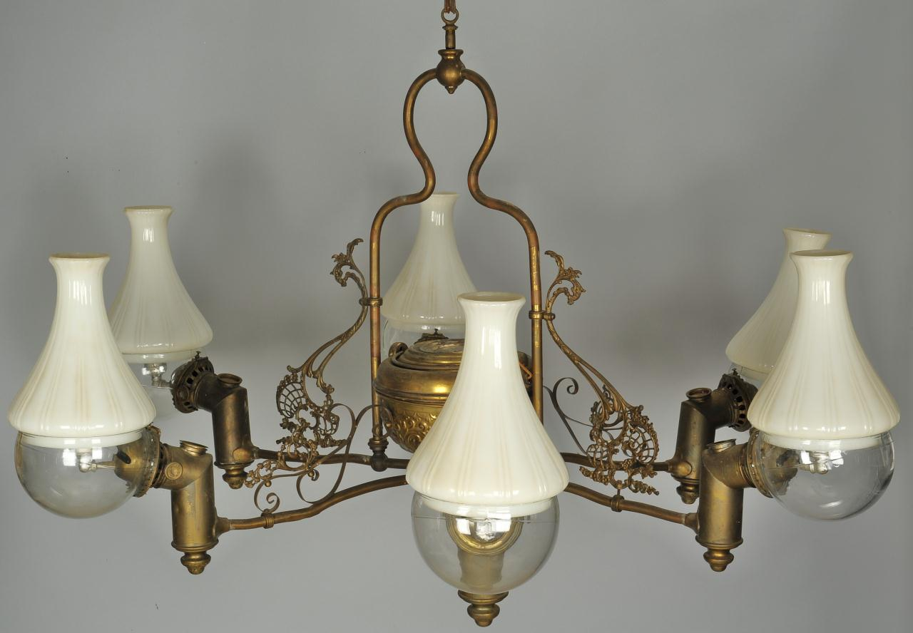 Lot 594: Six-Light Angle Lamp Chandelier