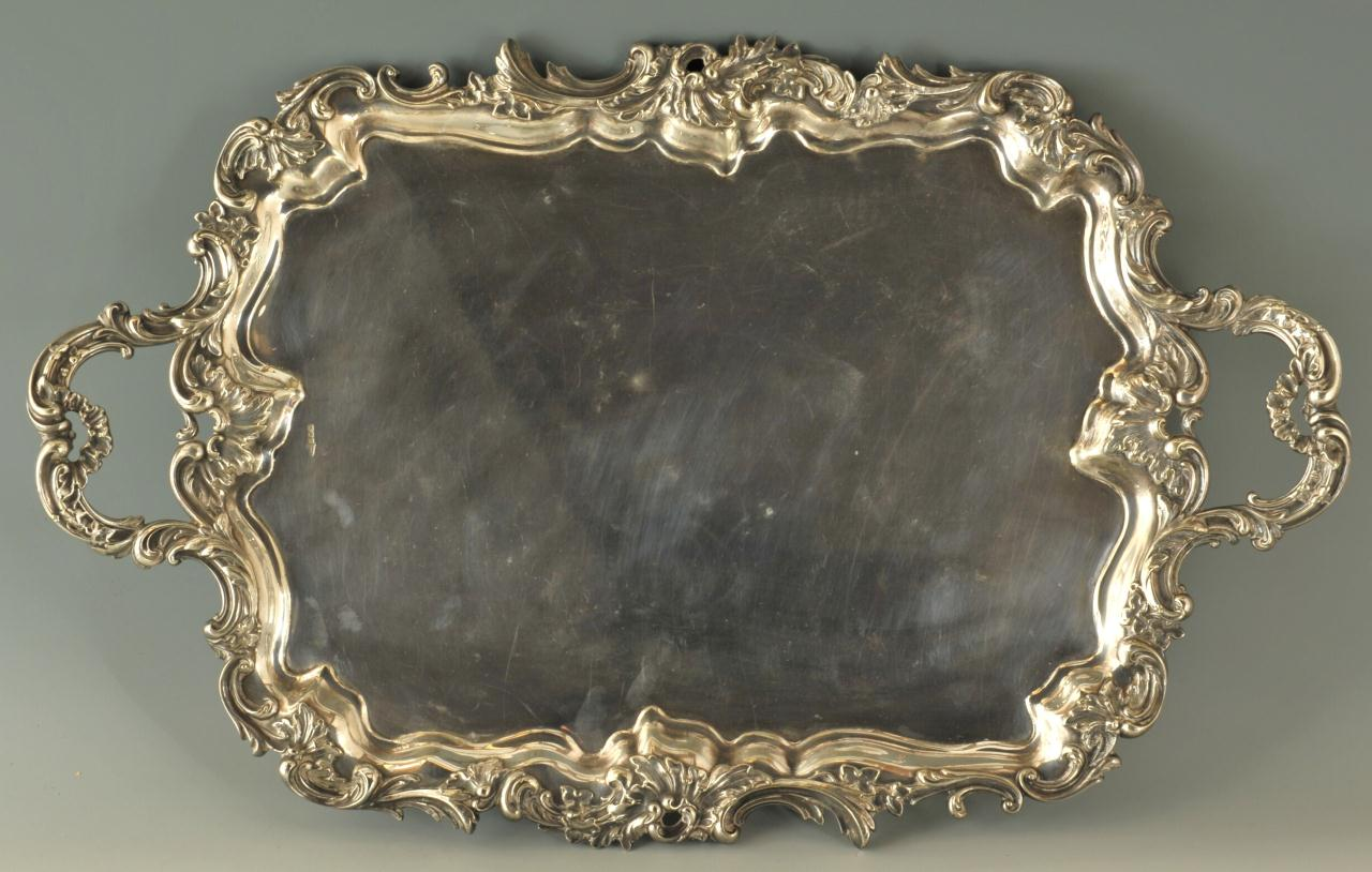 Lot 597: Large Victorian Silverplated Tray, Walker and Hall