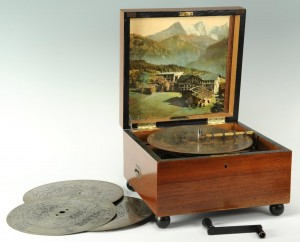 Lot 601: German Mechanical Music Box & 27 Discs
