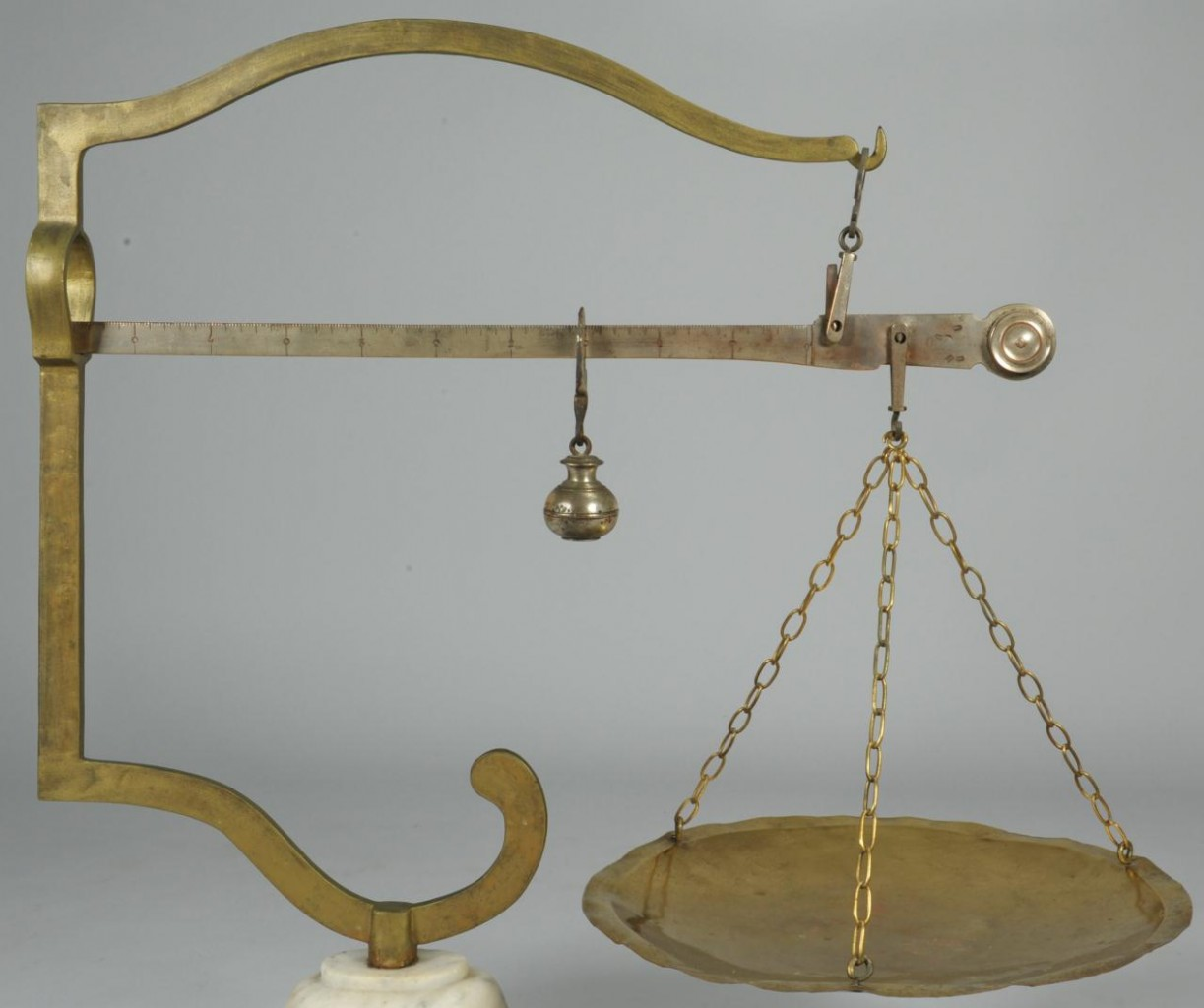Lot 608: Continental Brass & Marble Scale
