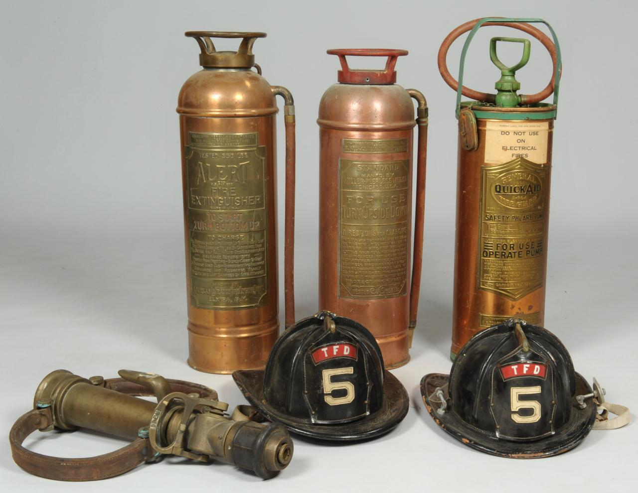 Lot 613: 2 Firemen Helmets, Nozzle, & 3 Fire Extinguishers
