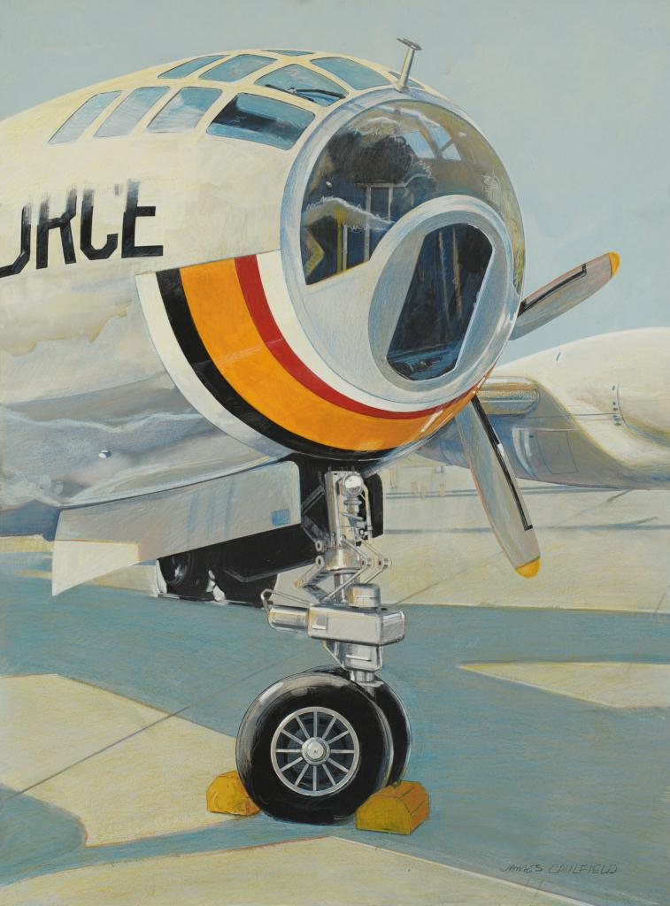 Lot 621: Three James Caulfield WWII Plane Paintings