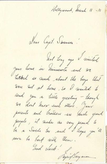 Lot 628: Ingrid Bergman signed Letter & Photos