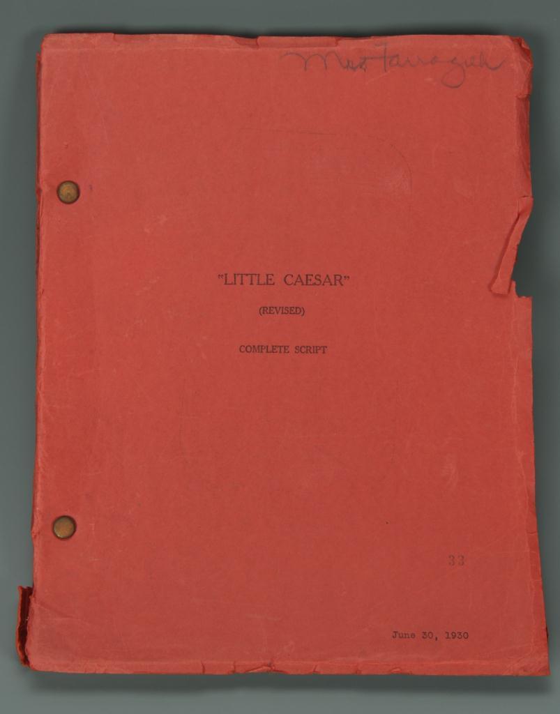 "Lot 630: Francis Faragoh 1st Rev. ""Little Caesar"" Script"