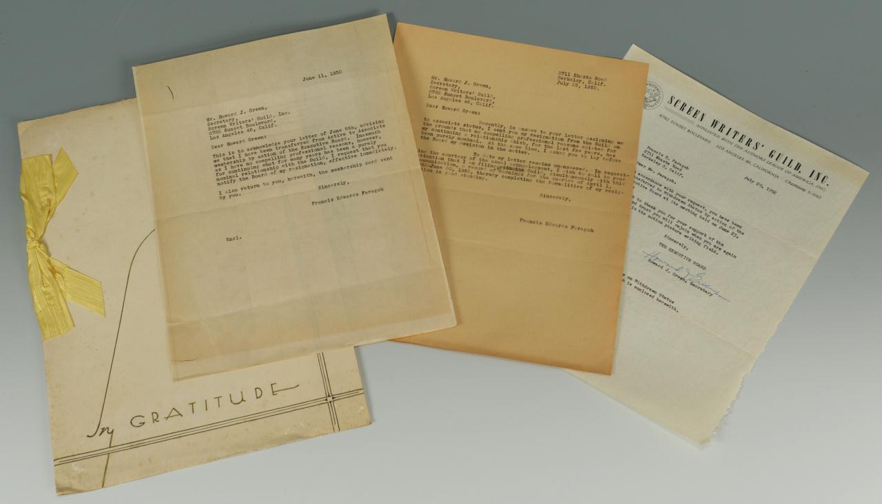 Lot 632: Francis Edwards Faragoh Archive, Gratitude Folio