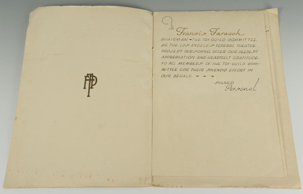 Lot 632: Francis Edwards Faragoh Archive, Gratitude Folio