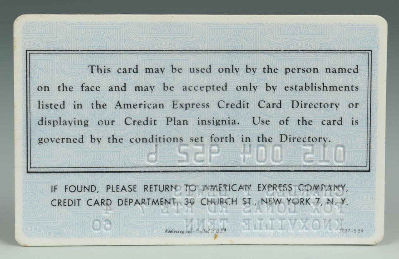 Lot 637: Early American Express Credit Card 1960