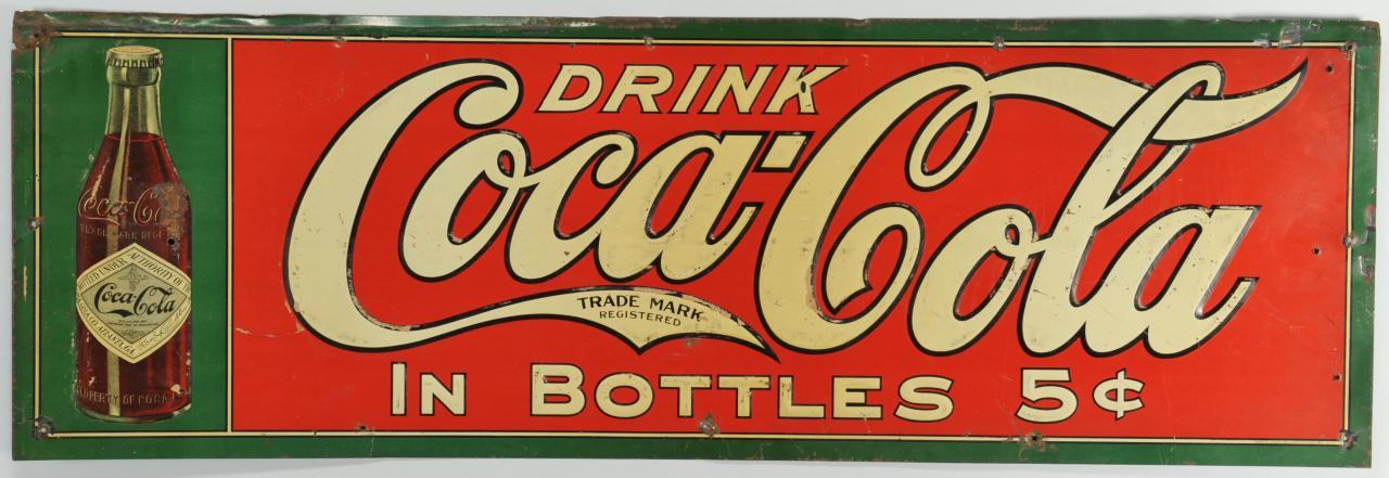 Lot 643: Circa 1915 Coca-Cola Embossed Sign