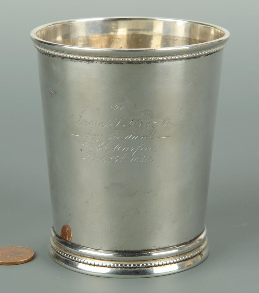 Lot 64: Tennessee Coin Silver Julep Cup, Frazer Family