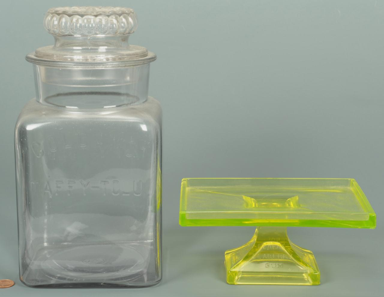 Lot 650: Glass Gum Jar and Vaseline Teaberry Gum Stand