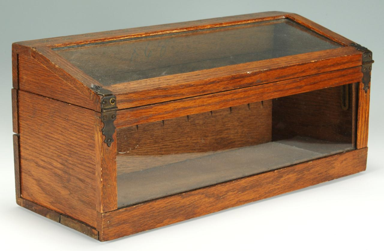 Countertop Display Case : Country store oak countertop display case with hinged, slanted glass ...