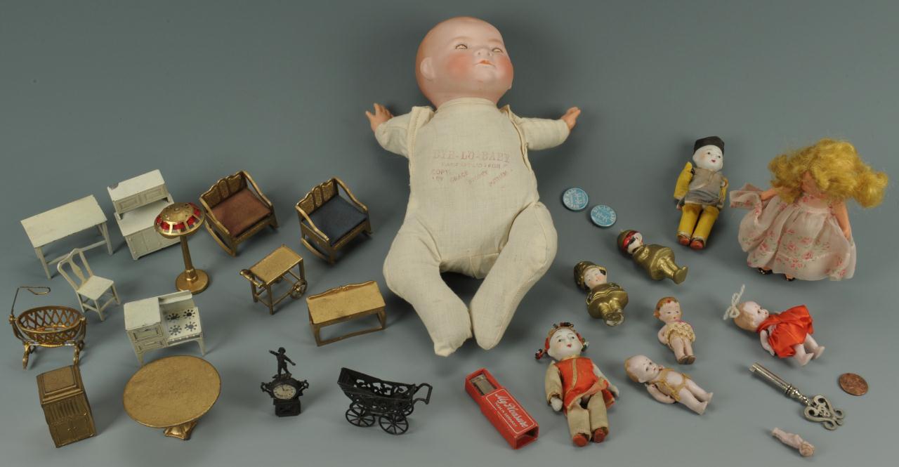 Lot 653: Lot of Dolls & Furniture, over 25 pcs.