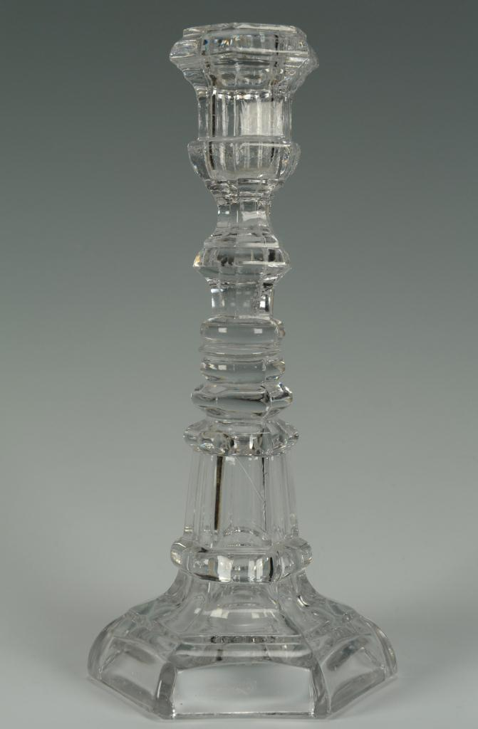 Lot 657: 3 Colorless Pressed Blown Glass Candlesticks