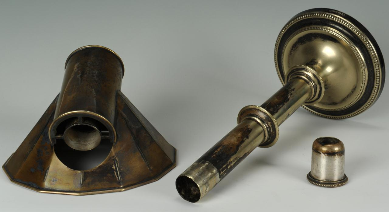 Lot 658: Old Sheffield hooded candlestick