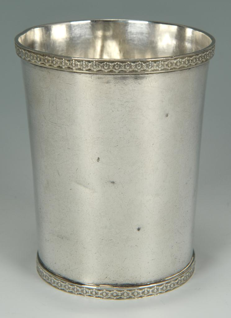 Lot 65: J. Kitts coin silver cup, Tobacco Premium