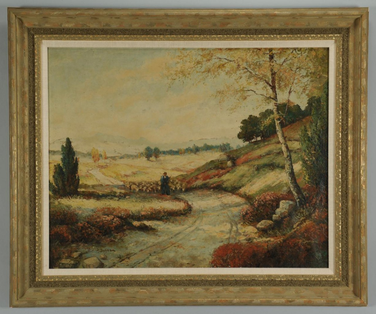 Lot 665: Impressionist landscape with shepherd, o/c
