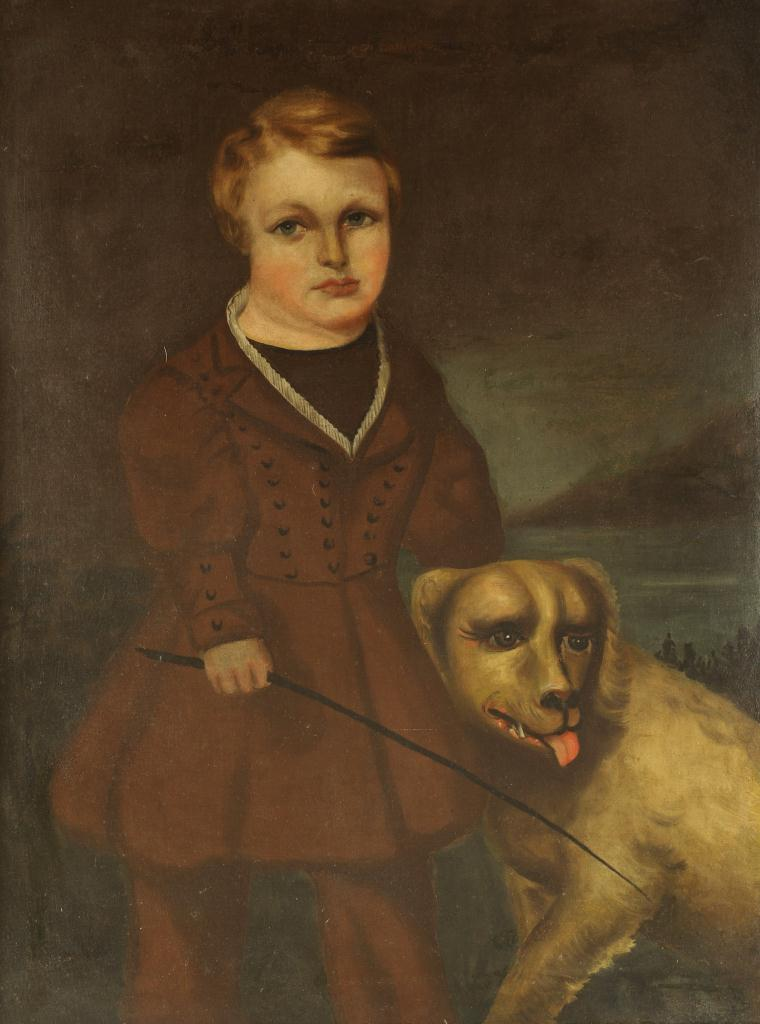 Lot 667: Oil on canvas Portrait of Boy & Dog, 19th century