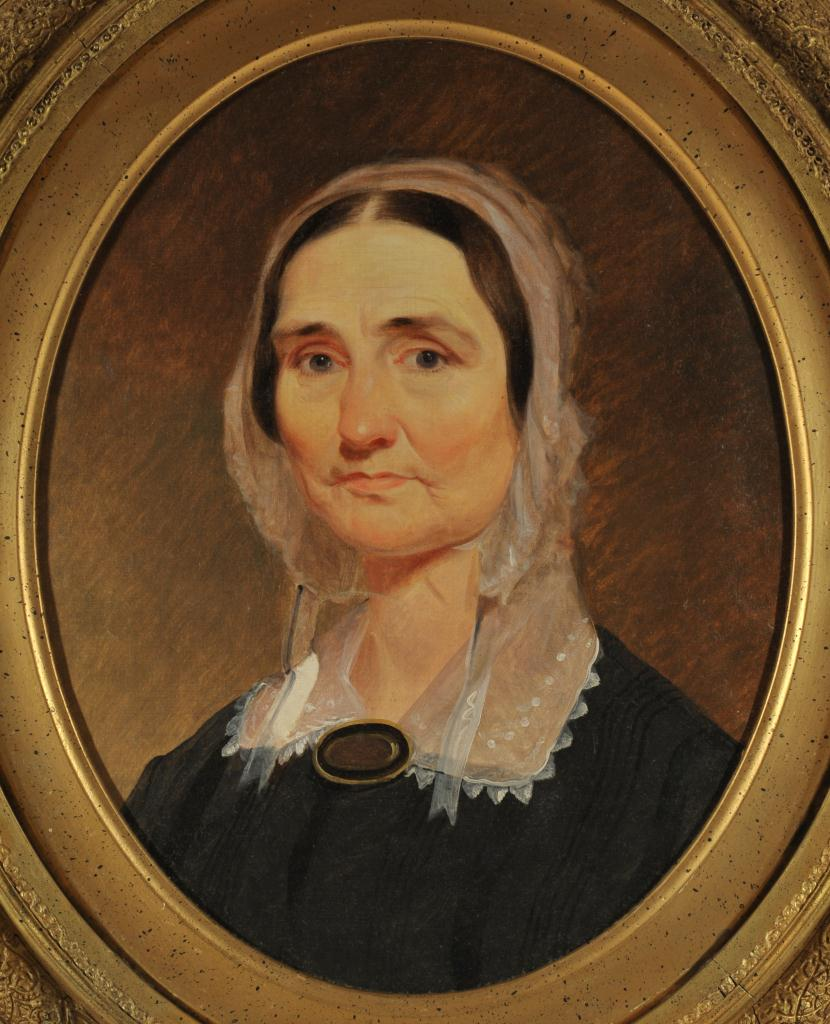Lot 668: American School, Oval Portrait of a Lady, 19th c.