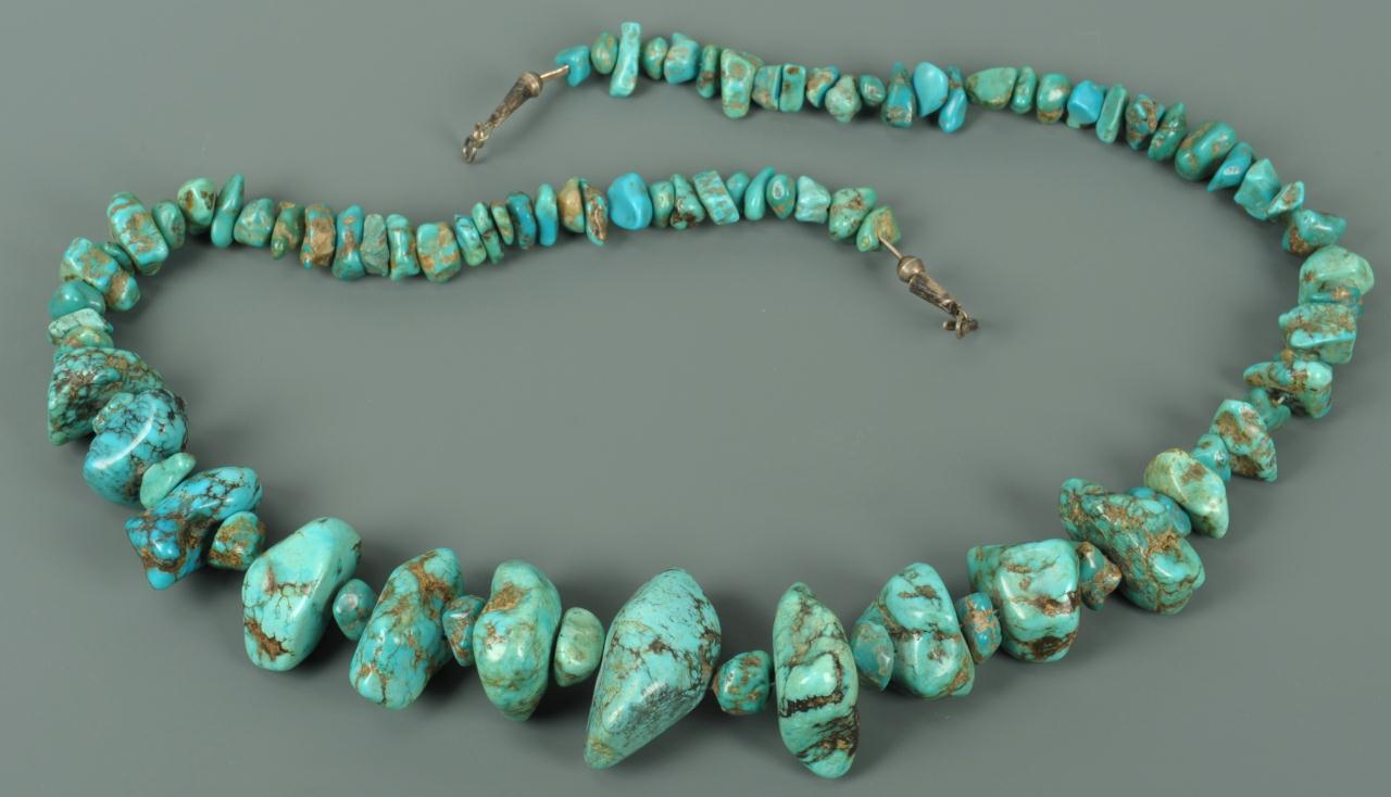 Lot 677: Large Navajo Turquoise Nugget Necklace